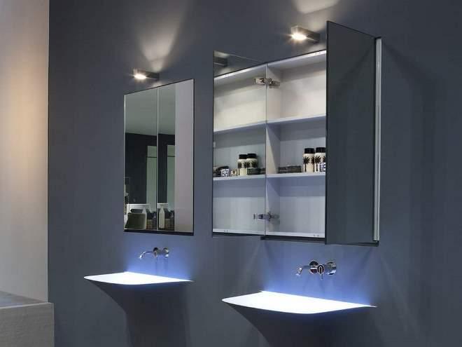 Зеркальные шкафчики в ванную