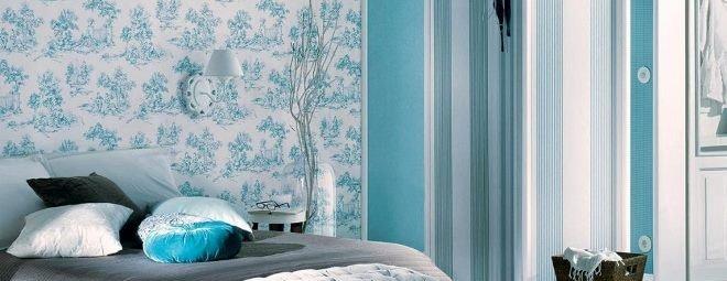 Голубые обои в спальне