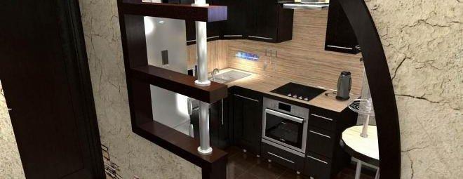 Перегородки из гипсокартона для зонирования кухни и гостиной